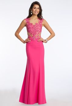 Beaded Appliques Illusion Bodice Dress #camillelavie #CLVprom