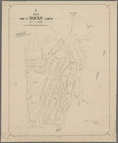 Plan showing the Rocks resumption, bounded by Kent Street, Dawes Point, Sydney Cove, Gosvenor Street and Circular Quay - from NRS 19348 Darling Harbour resumption maps Kent Street, Essex Street, Liverpool Street, Victoria Terrace, The Rocks Sydney, Gloucester Street, Argyle Street, Sydney City, Darling Harbour