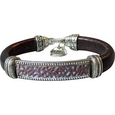 Artisan MAHOGANY Italian Licorice Leather Bracelet with Centerpiece and Charms. $45