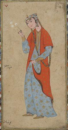 Album de peintures Medieval Manuscript, Medieval Art, Middle Eastern Art, Historical Women, Iranian Art, Art Costume, Botanical Drawings, Oriental, Museum Collection