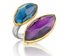 Symmetry: 18Kt Gold & Sterling Silver Ring with Amethyst and London Blue Topaz