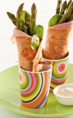 Recept voor wraps met groene asperges en ham