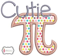 Cutie Pi Applique - 3 Sizes! | Words and Phrases | Machine Embroidery Designs | SWAKembroidery.com