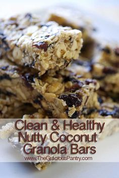 Clean Eating Nutty Coconut Granola Bars Recipe (this site has some great clean eating ideas and recipes)
