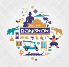Bangkok - Thailand vector set by mactrunk on Creative Market