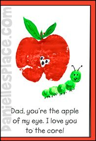 """""""Dad, You're the Apple of My Eye.  I Love You to the Core!"""" Father's Day Card Craft of Kids www.daniellesplace.com"""