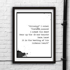 Printable digital art,Tell-Tale Heart,Edgar Allan Poe,Wall decor,Instant Download print,Black and white,Old fashioned,Ink print,Typography