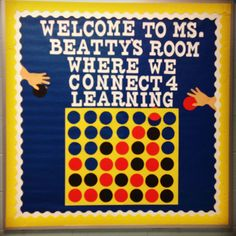 Connect 4 welcome bulletin board ... game theme