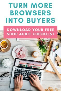 Audit your shop to make sure you're converting browsers into buyers at your highest ability! Selling Handmade Items, Handmade Shop, Business Planning, Business Tips, Business Coaching, Etsy Business, Online Business, Sales Strategy, Sales Tips