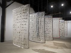 Marie Weichman: LIFE IS IN THE DETAILS: Six Quilts, 2007, Ceramic Shards | Ziplock bags | Thread | Ribbon | Steel | Cable Collages, Art Inspo, Textile Art, Textiles, Exhibition Display, Public Art, Land Art, Ceramic Art, Fiber Art