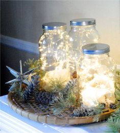480 Warm Fairy Lights Submersible and Batteries Included Reception Decoration Mason Jar Christmas Crafts, Mason Jar Crafts, Christmas Decorations, Christmas Ideas, Wedding Decorations, Wedding Ideas, Holiday Decor, Fairy Lights In A Jar, Diy Home