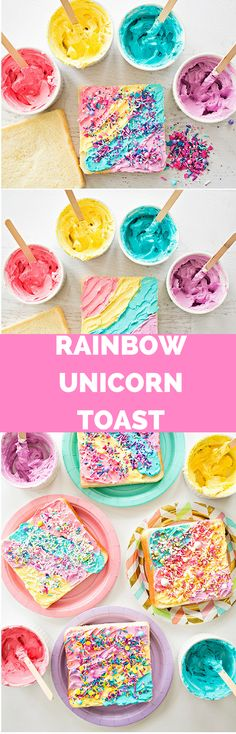 How to Make Rainbow Unicorn Toast. Magical colorful snack or fun for kids party.