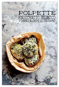 wild fennel, tuna, sesame balls - polpette finocchietto selvatico, tonno e sesamo Fennel Recipes, Sicilian Recipes, Garlic, Tacos, Spices, Herbs, Fish, Breakfast, Ethnic Recipes