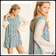 Arriving ~ No Room for the Blues Top Gorgeous Bohemia styleTurquoise combo print with lace detail sleeves /peekaboo back. Size: S M L. Please DO NOT PURCHASE this listing but comment on size & I'll create you a separate listing. Brand new no tags. Price FIRM UNLESS bundled.❌NO PP/NO TRADES❌ Cloud 9 Tops