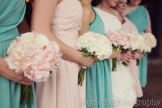 Bouquets! Teal and Blush Wedding Colors