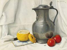 Johan Hendrik 'Jan' Strube (Amsterdam 1892-1985 Breda) Stilleven met tinnen kan, citroen en tomaten - Kunsthandel Simonis en Buunk, Ede (Nederland).