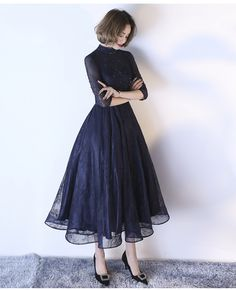 Dark Navy Cocktail Dress High Collar Sash Lace Illusion Sleeve Applique Beaded A. Dark Navy Cocktail Dress High Collar Sash Lace Illusion Sleeve Applique Beaded A Line Tulle Formal Party Dresses-No. Elegant Dresses, Pretty Dresses, Sexy Dresses, Dress Outfits, Evening Dresses, Fashion Dresses, Dresses For Work, Prom Dresses, Dress Prom
