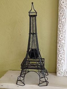 Metal-and-Wire-Eiffel-Tower-Clock-17-Tall-French-Home-Decor
