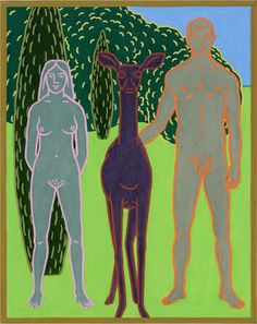 """Charles Munch, """"Three Animals"""", oil on canvas, 32x26 inches"""