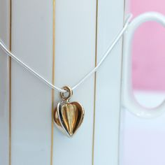 3D Heart in 14K White & Yellow Gold