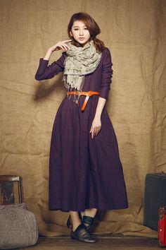 coat dress in purple/ linen trenchcoat / long evening dress - custom on Etsy, $88.00