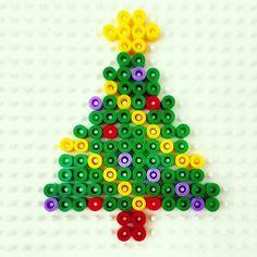 Christmas tree hama beads by missnumchuck Christmas Perler Beads, Diy Perler Beads, Perler Bead Art, Melty Bead Patterns, Hama Beads Patterns, Beading Patterns, Pearl Beads Pattern, Motifs Perler, Peler Beads