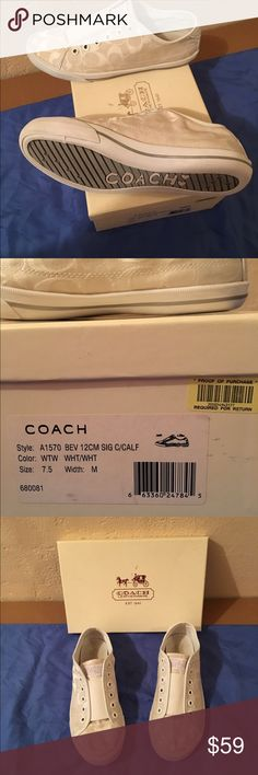 Coach Shoes Gently used size 7.5 M Coach shoes. Shoes in great condition. No flaws. Normal wear and tear. Shoes come with original box. Coach Shoes Sneakers
