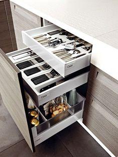 nice Idée relooking cuisine - Tiroir à l'anglaise doté de 2 tiroirs supplémentaires pour le rangement des...