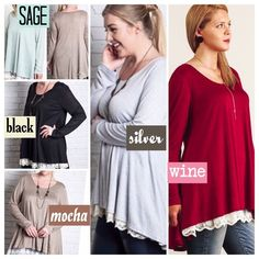 """🌺HP 10/16🌺LACE DETAIL KNIT TOP IN FIVE COLORS! Lightweight, long sleeve knit top with pretty lace trim. High low design, Semi sheer. Polyester/cotton/spandex blend.                                                                     ♦️XL: Bust:  44"""" Length: 31.5""""/33.5""""              ♦️1X: Bust: 46"""" Length: 32""""/34""""                    ♦️2X: Bust 48"""" Length: 33""""/35"""". tla2 Tops"""