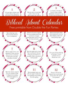 Biblical Advent Calendar free printable by Double the Fun Parties -- great for telling the Nativity story to young children 24 segments for a Christmas countdown. Advent Calander, Advent Calendar Activities, Advent Calendars For Kids, Diy Advent Calendar, Kids Calendar, Calendar Ideas, Planning Calendar, Holiday Activities, Advent For Kids