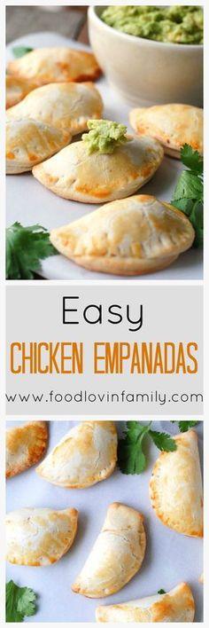 Easy Chicken Empanadas are a pocket full of flavor. The perfect party treat for football, basketball, Cinco de Mayo and more. Tostadas, Tacos, Appetizer Recipes, Dinner Recipes, Party Appetizers, Tostada Recipes, Appetizer Ideas, Salad Recipes, Pasta Recipes