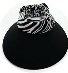 Large La Fleur w/Zebra Band & Bow sun visor October Sun, Visors, New Set, Amazing Women, Bow, Arch, Longbow, Hair Bow, Bows