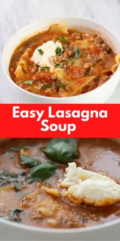 This Easy lasagna soup has all of the delicious flavors of home made lasagna with out all the work! The ideal weeknight dinner that's made in a single pot! Best Soup Recipes, Healthy Soup Recipes, Cooking Recipes, Easy Vegan Soup, Soup With Ground Beef, Lasagna Soup, Slow Cooker Soup, Instant Pot, Soups