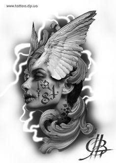 Pin by joseatinvvd on art ideas tattoo designs, tattoo artists, tattoos. Tattoo Sketches, Tattoo Drawings, Arte Lowrider, Filigree Tattoo, Girl Face Tattoo, Neck Tattoo For Guys, Flame Tattoos, Full Sleeve Tattoo Design, Angel Tattoo Designs