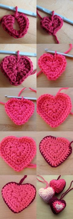 """Crochet heart decorations – free pattern from Make My Day Creative-Easy Heart for Small Details. """"Hanging Hearts By Esther Chandler - Free Crochet Pattern Love Crochet, Crochet Motif, Diy Crochet, Crochet Crafts, Yarn Crafts, Crochet Flowers, Crochet Projects, Crochet Patterns, Crochet Stitches"""