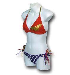 BOUGHT IT.... LOVE IT.... CAN'T WAIT TO WEAR IT!!!!Wonder Woman bikini! via Superherostuff.com #wonderwoman swimwear