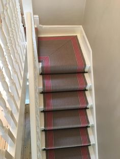 Roger Oates Flaxman Berry carpet stair runner with black stair rods to white painted stair case Black Stairs, Stair Case, Stair Rods, Painted Stairs, Color Stripes, White Paints, Green And Grey, Berry, Carpet