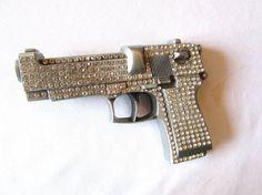 BELT Buckle LARGE PISTOL /Gun  Rhinestones by VINTAGEVogueWARDROBE, $31.00