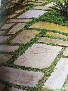 Rectangular pavers with grass
