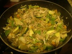 Previously baked chicken, sweet pepper, green pepper, zucchini, and italian string bean stirfry with onion, garlic, pepper, and seasoning salt. Add some almond slices if you like.
