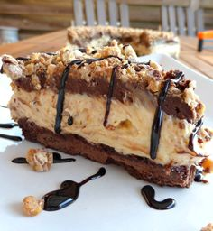 Peanut Butter and Snickers No-Bake Cheesecake on MyRecipeMagic.com
