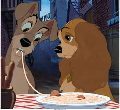 "Lady and the Tramp ""Bella Notte"" Production Cel Setup (Walt Disney, 1955). ""Oh, this is the night, it's a beautiful night -- And we call it Belle Notte."" Disney's classic animated feature Lady and the Tramp was named to AFI's top 100 list of ""Greatest Love Stories"" of all time. Beauty and the Beast and Lady and the Tramp were the only two animated feature films to make this list. This is an original hand-inked, hand-painted production cel of Lady and Tramp."
