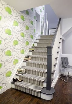 Painted stairs can be a real feature in a hallway. While big design decisions are made around hallway flooring, walls, wall art and lighting, steps and staircases can often get forgotten.   #Paintedstairs #PaintedstairsIdeas #Paintedstairscolors