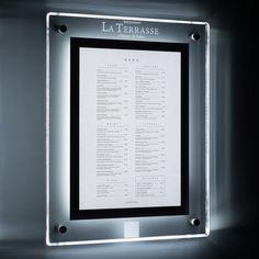 Illuminated displays / Wall mounted poster display case Wall Display Case, Poster Display, Illuminated Signs, Bright Walls, Wall Mount, Patio, Wall Mounted Display Case, Wall Installation