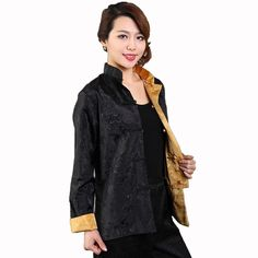 4a1608d0c High Fashion Two Side Yellow-Black Lady Satin Coat Chinese Traditional  Casual Clothing Print Jacket Size M-XXXL. Women's Clothing