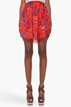 Carven Blotched Poppy Skirt for women | SSENSE