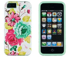 DandyCase 2in1 Hybrid High Impact Hard Pink Floral Pattern + Mint Green Silicone Case Cover For Apple iPhone 5S & iPhone 5 (not 5C) + DandyCase Screen Cleaner DandyCase,http://www.amazon.com/dp/B00FDVADFS/ref=cm_sw_r_pi_dp_JDZktb1XBVZTWRJJ