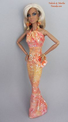Ombre Metallic Orange Fashion  For Fashion Royalty and Silkstone Barbie