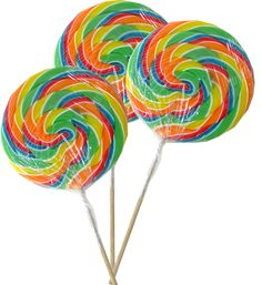 "Jumbo Rainbow Twirly Lollipops. This is a big lollipop that comes packaged in a clear plastic case so you don't have to lick it all at once. Blair Candy is where to buy whirly lollipops. Lollipop is 5 1/2 inches round. From end to end this is 12"" long."