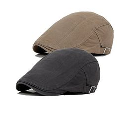 New Bigface Up Pack 2 Men s Cotton Flat Cap Ivy Cabbie Driving Hat Summer  Newsboy Cap (Gray+Light Khaki) online shopping 338c67a93cbb